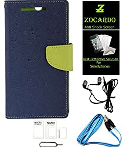 Zocardo Flip Case Cover for Sony Xperia C4 -Blue , Tempered Glass Screen Protector Cover, Earphone, Aux Cable, Sim Adapter - Basic Acc Kit