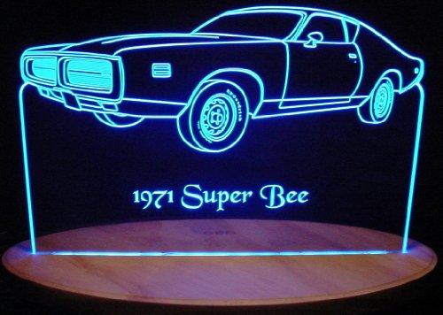 1971 Dodge Super Bee Acrylic Lighted Edge Lit Led Car Sign / Light Up Plaque 71