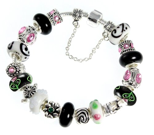 Black, White and Pink Murano Bead Charm Bracelet,
