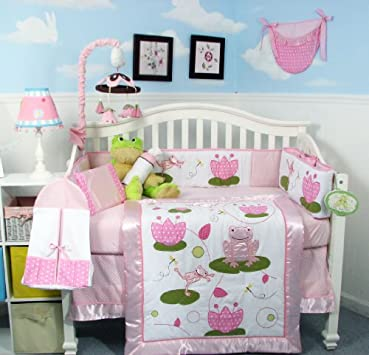 Simple Bedding Sets SOHO Pink Froggie Party Crib Nursery Bedding Set pcs included Diaper Bag