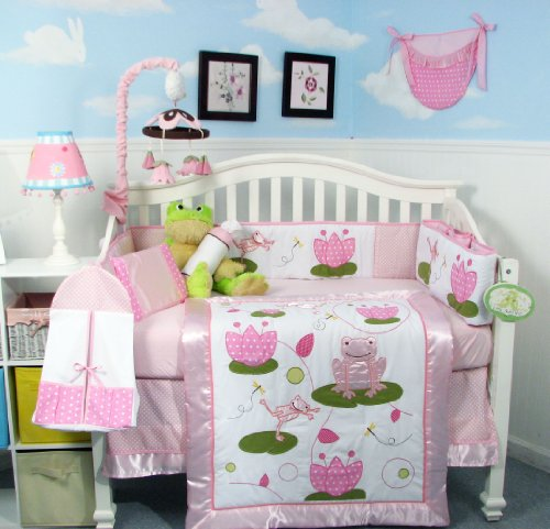 SOHO Pink Froggie Party Crib Nursery Bedding Set 13 pcs included Diaper Bag with Changing Pad & Bottle Case ** Spring Special ! **