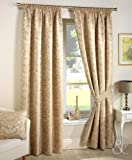 LUXURY JACQUARD CURTAINS Heavy Weight Fully Lined Pencil Pleat Damask Curtain Cream Curtain Pair 90