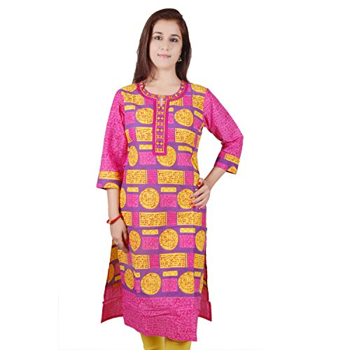 Fashion Aditi Fashion Printed Cotton 3\/4 Sleeeve Kurti For Women (Multicolor)