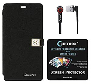 Chevron Royal Armour Flip Cover With Stand Mode for Xiaomi Mi 4i with HD Screen Guard & Chevron 3.5mm Stereo Earphones (Black)