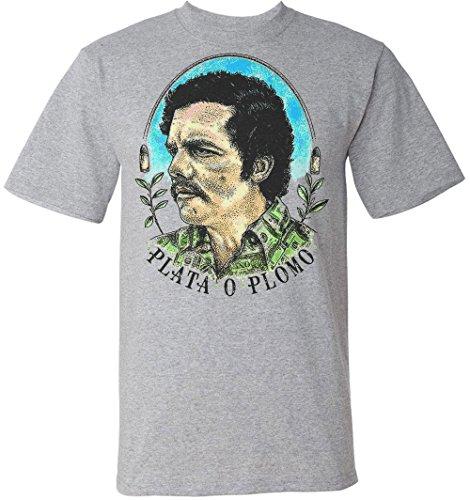 PLATA O PLOMO Pablo Escobar Portrait Men's T-Shirt XX-Large
