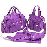 Babyhugs® 4pcs bebé Chic cambiar pañales pañales Messenger Bag Set, Color Morado