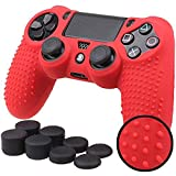 Sololife PS4 Controller Skin Grip Anti-Slip Silicone Cover Protector Case for Sony PS4/PS4 Slim/PS4 Pro Controller with 8 Thumb Grips (Color: Red)