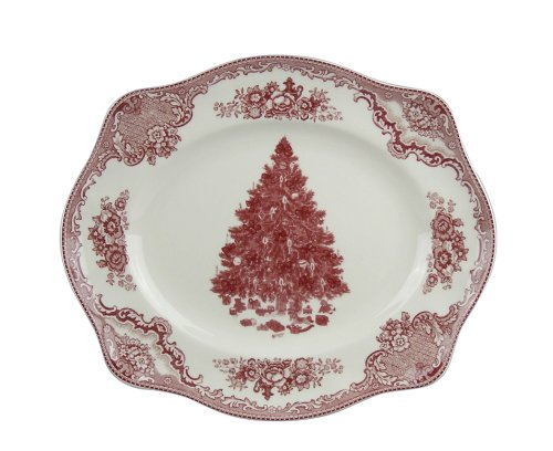Johnson Brothers Old Britain Castles Christmas 12-Inch Platter With Pink Tree