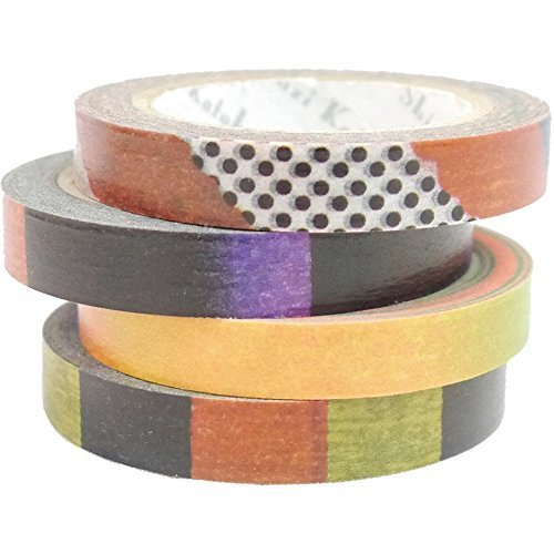 SEAL-DO Natti Stripes and Dots Dark - Washi Tape - Made in Japan -Set of 4