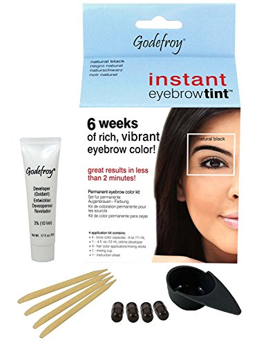 Godefroy instant eyebrow tint permanent eyebrow color kit - Natural Black (Innovative Creme Developer compare prices)