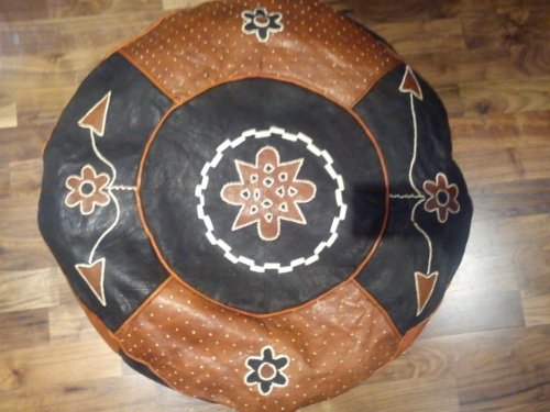Organic Leather Pouffes (Black/ Burnt Orange)