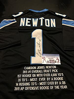 Cam Newton Autographed Signed Carolina Panthers Black Custom STAT Jersey GTSM Personal Player Hologram & Coa Card