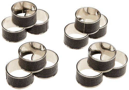 DII Black Croc Faux Leather Napkin Ring, Set of 12