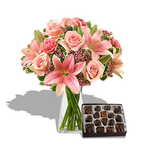 Pink perfection Bouquet with Chocolate
