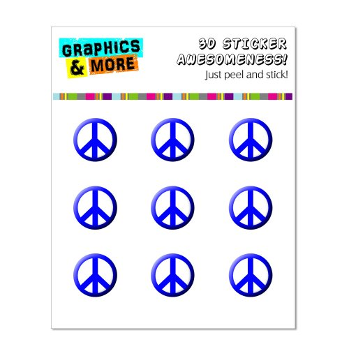 Graphics and More Peace Sign Blue Home Button Stickers Fits Apple iPhone 4/4S/5/5C/5S, iPad, iPod Touch - Non-Retail Packaging - Clear