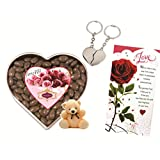 Skylofts 300gms Chocolate Coated Butterscotch Nutties With A Cute Teddy, A Love Card & A Heart Key Chain