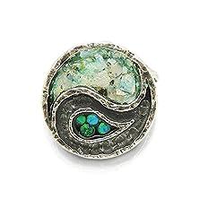 buy Yin Yang Ring With Mosaic Opal & Roman Glass