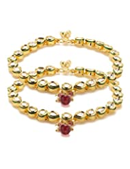 Voylla Gold Plated Pair Of Anklets Adorned With CZ, Pink Color Stone And Pink Color Beads