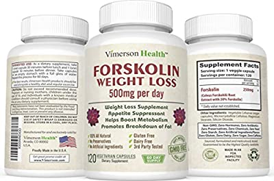 Pure Forskolin Extract 100% All Natural and Non-Gmo (45 Day Supply). Gluten Free and Vegetarian. The Best Coleus Forskohlii on the Market - Highest Grade Weight Loss Supplement for Women & Men - Standardized At 20%. Made in the USA for Vimerson Health