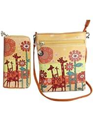 Combo Offer Of Designer Sling Bag +Wallet Orange Printed Stylish Sling Bag For Girls, Womens, Ladies Wallet Purses...