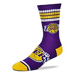 Los Angeles Lakers Four Stripe Mens Crew Sock