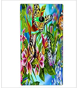 PrintDhaba Butterflies and Flowers D-2175 Back Case Cover for NOKIA LUMIA 730 (Multi-Coloured)