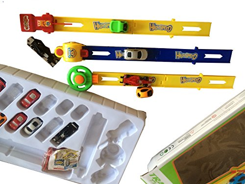 Dazzling Toys Track Racer Racing Car Toy Set - Set Includes: 3 Speed Car Pushers, 12 Mini Racer Cars, 6 Piece Track + Accessories