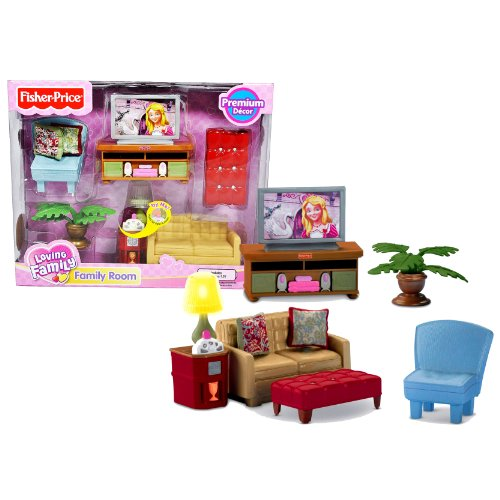 Fisher Price Year 2009 Loving Family Dollhouse Premium Decor Furniture Accessory Set - FAMILY ROOM with Sofa Chair, Otto Bench, TV Table Stand with