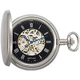 Gotham Men's Silver-Tone Satin Mechanical Coin Edge Skeleton Pocket Watch # GWC14060SB