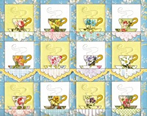 Carol Wilson Teacup Quilt Boxed Note Card Set 10 Ct. Non-Scriptured