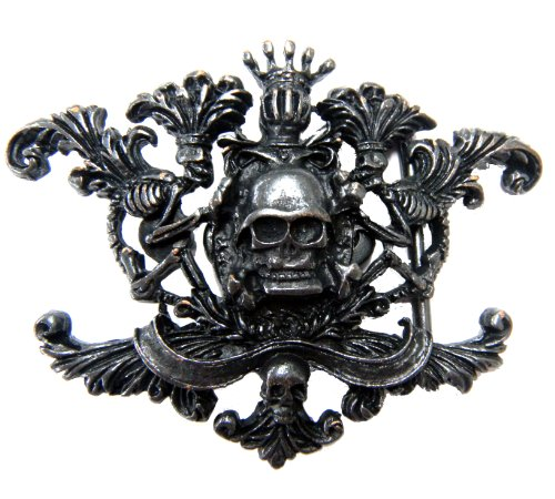Royal Black Crown Skull Dark Finish Belt Buckle