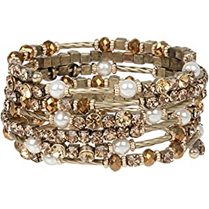 Exquisite Golden Bronze Crystal and Simulated Pearl Wrap Bracelet