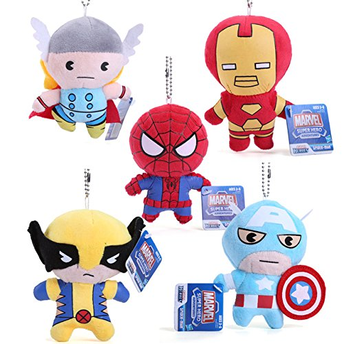 5pcs/set 11cm The Avengers Super Heroes Plush Toys Thor Spider-man Captain America Iron Man Plush Dolls