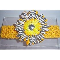 Yellow Black White Zebra Jewel Gerbera Daisy Flower Pink Crochet Headband Gerber - Girls Child Baby Toddler Apparel Head Hair Band Bow Bows Girl Soft Infant Youth Accessory