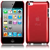 Red Super Slim Xylo-Back Cover / Skin / Case for the Apple iPod Touch 4 4G (8GB 16GB 32GB 64GB).