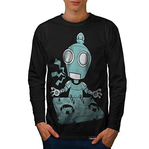 Wellcoda | DJ Robot piatto CD Rave Decks Uomo Nuovo Nero Camicia a maniche lunghe XXL