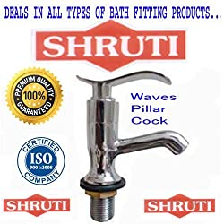 SHRUTI (Shippo) Waves Model Pillar BibCock / Taps With Wall Flange , Brass Taps Made By 100% Brass Honey Heavy Duty - WA103