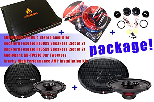Complete Package! Audiobank P1400.4 4 Channels Stereo Amplifier + Rockford Fosgate R169X3 Speakers + Rockford Fosgate R165X3 Speakers + Audiobank Ab-Tw210 Car Tweeters + Gravity Gr-4Kit-Rd High Performance Amp Installation Kit