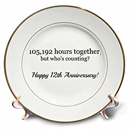 BrooklynMeMe Anniversary - Happy 12th Anniversary - 105192 hours together - 8 inch Porcelain Plate (cp_224657_1)