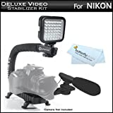 Deluxe LED Video Light + Mini Zoom Shotgun Microphone w/Mount + Video Stabilizer Kit For Nikon D5200, D600, D5100, D3100, D3200, D7000, D90, D800E, D5000, D300s, D700 DSLR, Nikon 1 J1, Nikon 1 V1 Includes Stabilizing Handle + Microphone + LED Light Kit