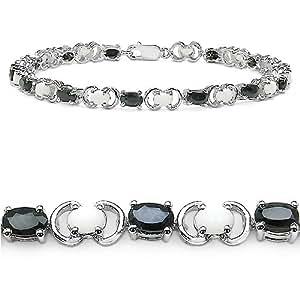 6.10 Carat Genuine Opal and Sapphire Ovals Silver Bracelet