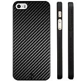 Highend berry iPhone SE 5s 5 アイフォン ラバー コート ブラック ハード ケース 強化 ガラス 保護 フィルム 付き カーボン ストライプ