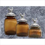 Canisters 3-Piece Set with Rooster Lid in Amber