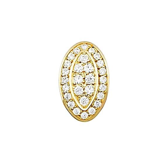 18k gold oval pendant zircons [AA4888]