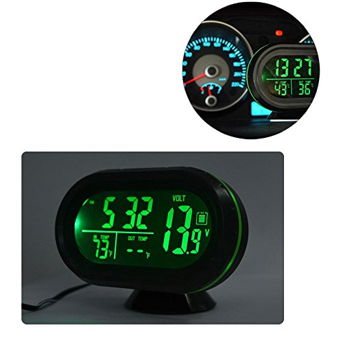 Car Clock, LED Lighted Digital Car Clock Thermometer Auto Dual Temperature Gauge Voltmeter Voltage Tester DC 12-24V, Green (Car Led Digital Clock compare prices)