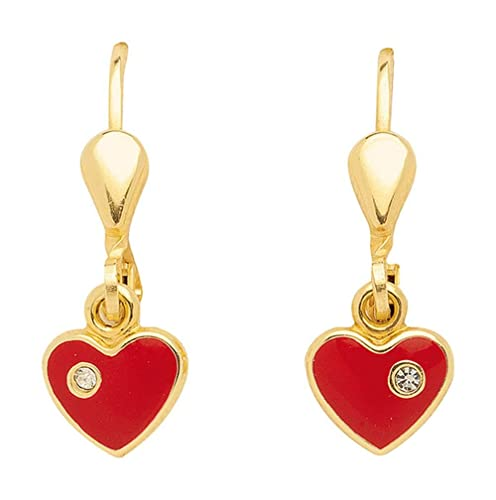 Heart Earrings with Zirconia Made of 333 8 K Gold