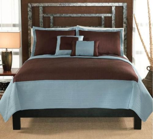 Chocolate Aqua Full/Queen Or King Quilt Set : Hotel Quilted Brown Blue Bedding front-984881