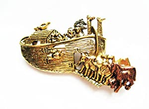 AJC Co. Gold - Plated Noah's Ark Pin Brooch