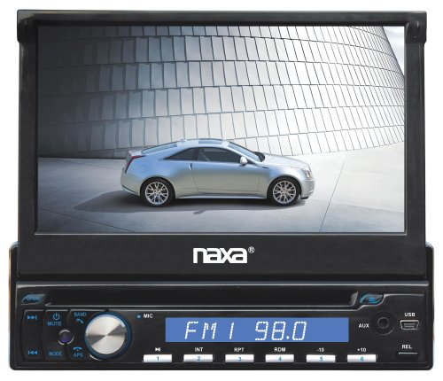 Naxa Ncd-702*7-Inch Touch Screen Lcd Display Motorized Slide Down Full Detachable Pll Electronic Tuning Stereo Am/Fm Radio Multimedia Player With Aux-In Jack And Bluetooth