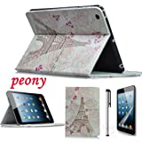 Eallc New Stylish 3in1 Leather Paris Tower Smart Case Cover Stand for Apple iPad Mini (peony+tower)
